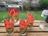 Vintage Retro French Luminarc lemonade set jug and 4 glasses