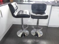 Black and Chrome Leather look kitchen stools