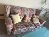 Free floral sofa and armchairs. Reupholstered