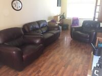 Brown leather 3 piece suite sofa for sale! Excellent condition! For collection only.