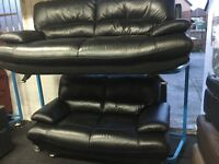 New/Ex Display Black Leather Samara 2 Seater + 3 Seater Sofas