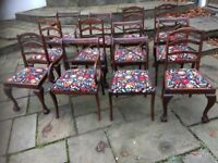 12 re-upholstered dining chairs, solid wood