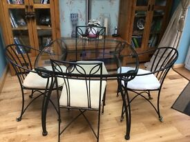 Marks & Spencer's Glass Topped Dining Table & 4 Chairs