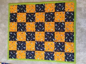 New Handmade Boy Baby Blanket, Space Themed Cotton Patchwork Baby Playmat