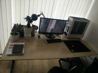 Large ergonomic office desk