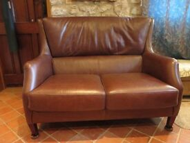 Settee for Two; Brown Leatherette; High Backed; Little Used