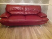 HARVEYS REAL RED LEATHER SOFA & chair