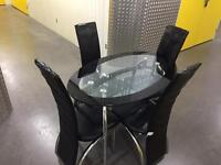 Glass table and 4x black chairs, Free delivery