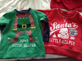 Two Christmas tops elf and santas little helper 12-18 months