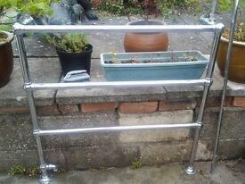 Antique art deco bathroom chrome towel rail, radiator.