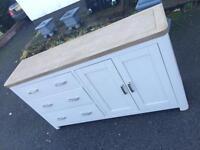 Large grey and oak side board cupboard