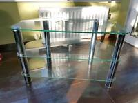 Glass and chrome tv unit