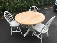 Farmhouse table 3 chairs refurbed