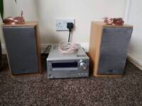 ONKYO CR-425 DAB RADIO CD RECEIVER HiFi STEREO PLAYER + SPEAKERS No remote