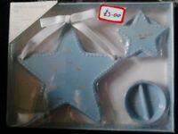 Baby's blue ceramic keepsake gift set.