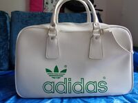 White retro Adidas tennis bag, original 70's vintage
