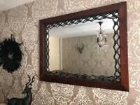 Elegant Laura Ashley oak and wrought iron mirror
