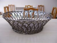 Vintage Silver coloured Woven Metal Wire Fruit Basket