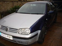 VW Golf Mk 4 E 1.9 Sdi SPARES OR REPAIR - NO MOT Blue and Silver 2 keys V5C