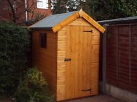 6X4FT APEX GARDEN SHED HEAVY DUTY TIMBER TONGUE & GROOVE ERECTED FULLY ASSEMBLED