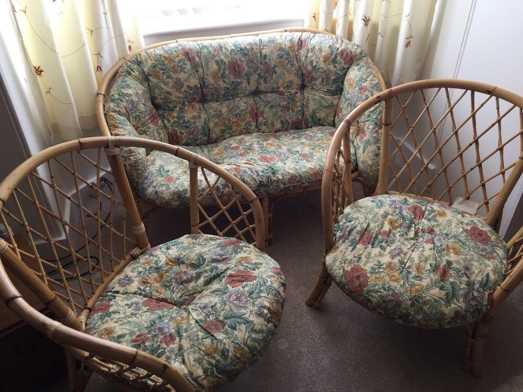 Cane conservatory sofa and chairs