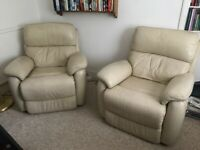 T-Motion Model Cream Leather Armchair Recliner