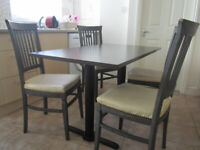 Dining table Cast Iron Legs. Chairs oak leather seats