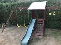 Play house, climbing frame, swing set,slide & sand pit