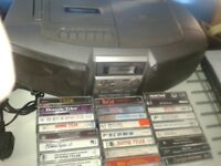 VINTAGE RETRO PANASONIC CASSETTE CD RADIO RX-DS5 WITH MEATLOAF AND BONNIE TYLER CASSETTE COLLECTION