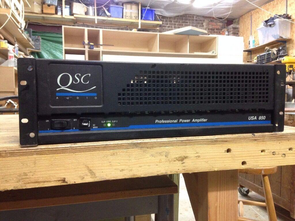 Qsc Usa 850 Professional Power Amplifier Stereo 2 X 240w 850w Amplifiers Bridged
