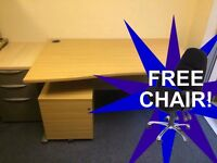 **Bargain** Like New 1600mm Wave Office Desk, Pedestal & Chair - Delivery - Oak colour
