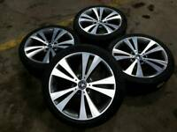"GENUINE VW 18"" CHICAGO ALLOY WHEELS & 7MM TYRES 5X112 EOS GOLF MK5/6/7 PASSAT T4 CADDY AUDI SEAT"