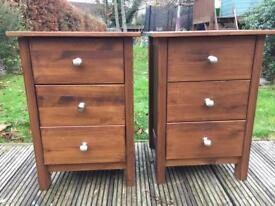 Two bedside tables with brushed metal handles