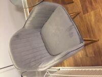 2Grey velvet dining chairs