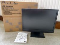 "IIYAMA PROLITE E2003 WS 20""TFT LCD WIDE MONITOR. GREAT CONDITION & BOXED"