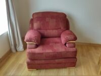 Terracotta 3 seater sofa, 2 armchairs (incl Recliner)