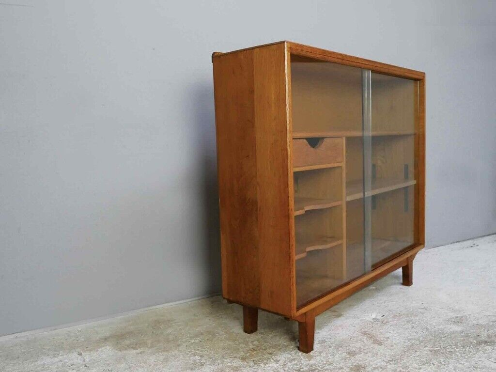 1950 S Solid Oak Bookcase With Glass Sliding Doors In Waltham Abbey Essex Gumtree