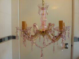 NEW, boxed, Pink and Gold, 5 Arm Chandelier, ceiling light fitting