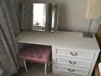 Dressing Table with removable mirror and plush stool