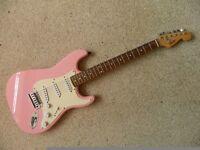 Pink Fender Bullet Strat Electric Guitar + Padded Bag + Stand