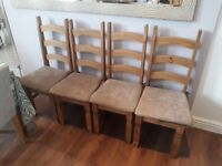 4 Rustic Wooden Dining Room Chairs | Waxed Finish | Foam cushions included