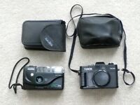 Two vintage 35mm cameras, Halina and Yunon both with cases