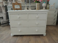 Lovely shabby chic antique Victorian chest of four drawers