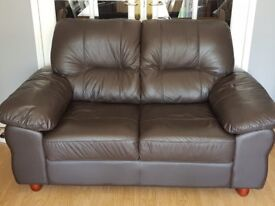 Leather Suite In excellent condition (brown) For Sale