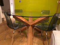 Round glass dining table, 4 Chairs, 130cm diameter