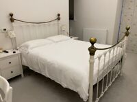 King size metal framed bed