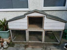 Very large rabbit hutch and run double