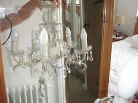 Chandelier shabby chic style painted leaves and candle holders with crystal drops