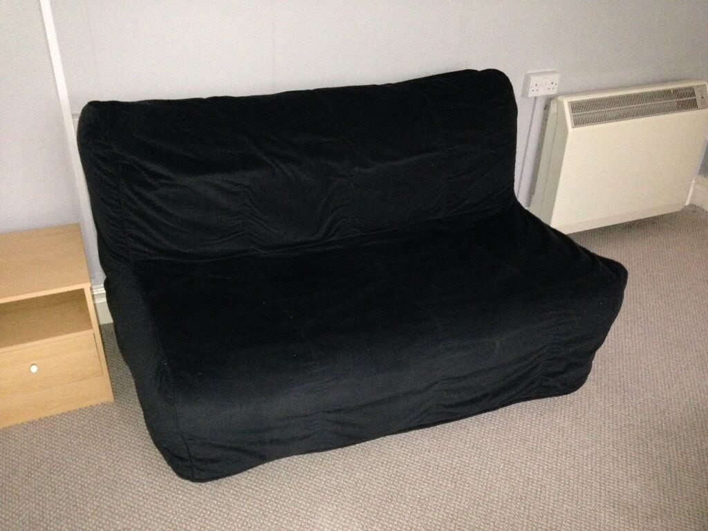 Two Seat Sofa Bed Black Ikea Lycksele Murbo Double Futon
