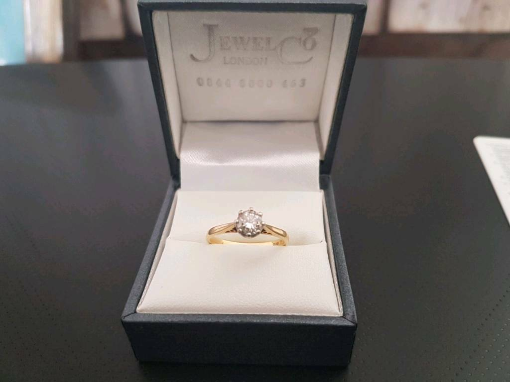 18ct yellow gold natural diamond ring 0.51ct